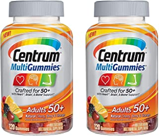 Centrum MultiGummies Adults 50+ Crafted for 50+ for Heart Brain and Bone Support MultiVitamin/MultiMineral in Natural Cher...