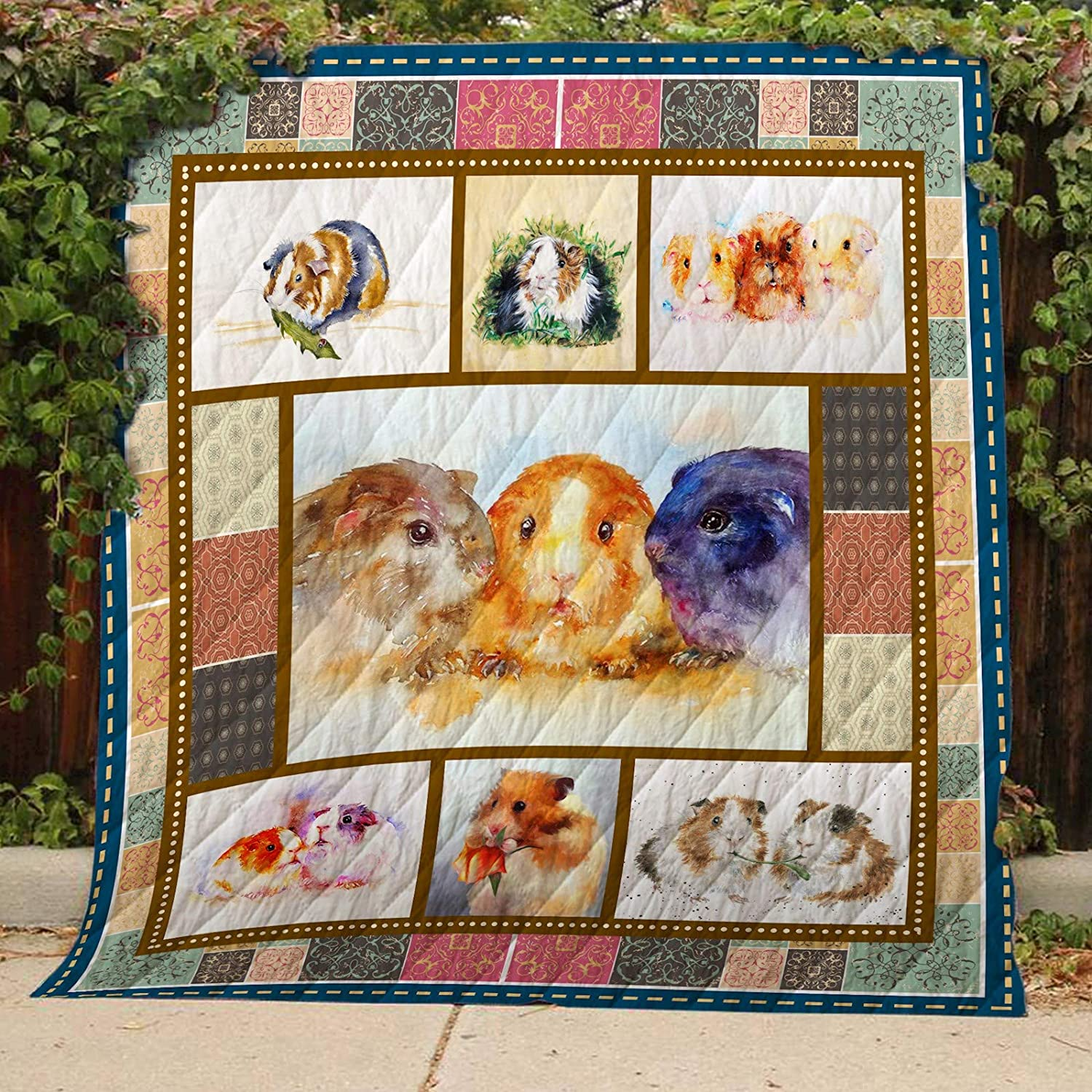 Guinea Pig Quilt TH389, Queen All-Season Quilts Comforters with Reversible Cotton King Queen Twin Size - Best Decorative Quilts-Unique Quilted for Gifts