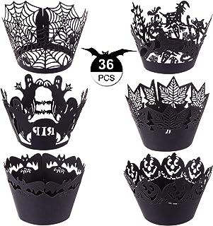 GWHOLE Lot de 36 Caissettes à Cupcakes et Muffins Halloween en Papier Creux Dentelle Florale