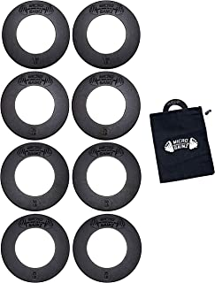 USA Made Micro Gainz Calibrated Fractional Weight Plate Set of .25LB-.50LB-.75LB-1LB Plates (8 Plate Set) - Designed for Olympic Barbells, Used for Strength Training and Micro Loading w/Carrying Bag