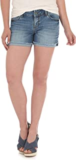 سروال جينز حريمي قصير قابل للتمدد من قماش الجينز Retro Mae Mid Rise من Wrangler