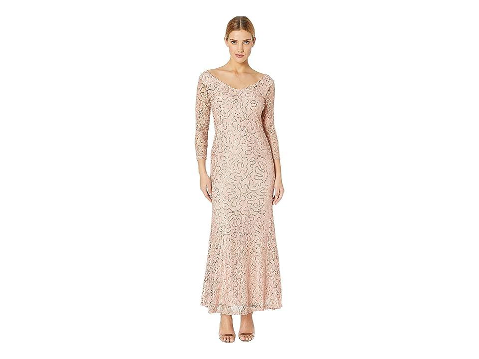 MARINA Slim 3/4 Sleeve Lace Dress with V Front/Back Neckline (Blush) Women