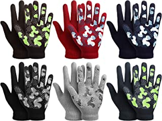 6 Pairs Stretch Winter Kids Gloves Camouflage Full Fingers Gloves for Boys 6-12 Years old