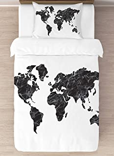 KB & Me Black and White Marble World Map Duvet Comforter Cover and Sham 2 pc. Twin/Twin XL Size Bedding Luxury College Dorm Teen Set