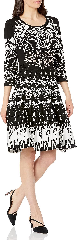 Gabby Skye Women's Cheap SALE Start 3 4 Sweater Aztec Dress Factory outlet Sleeved Printed