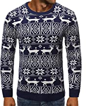 Soluo Men Women Ugly Christmas Pullover Funny Design Printing Long Sleeve Shirts Funny Crewneck Reindeer Sweatshirts
