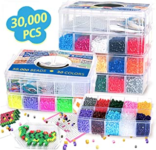 Keychains Perler Beads Compatible Kit 10,500pcs Fuse Beads Craft Kit 6 Pegboards Accessories /& More with Free Carrying Case by CraftyCreations 34 Colors Plus Tools 34+ Patterns Tweezers