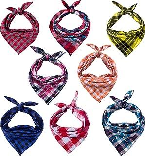 8 Pack Dog Bandanas & Dog Scarf, Triangle Pet Scarf Washable Reversible Plaid Printing Kerchief Neckerchief Handkerchief for Pet Dog Cat