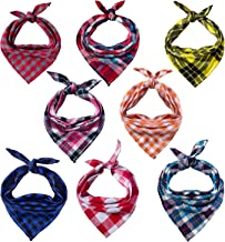 8 Pack Dog Bandanas & Dog Scarf, Triangle Pet Scarf Washable Reversible Plaid Printing Kerchief Neckerchief Handkerchief for Pet Dog Cat