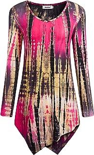 Womens Tie Dye Tunics Long Sleeve Hankerchief Hemline Tops Fall Shirts