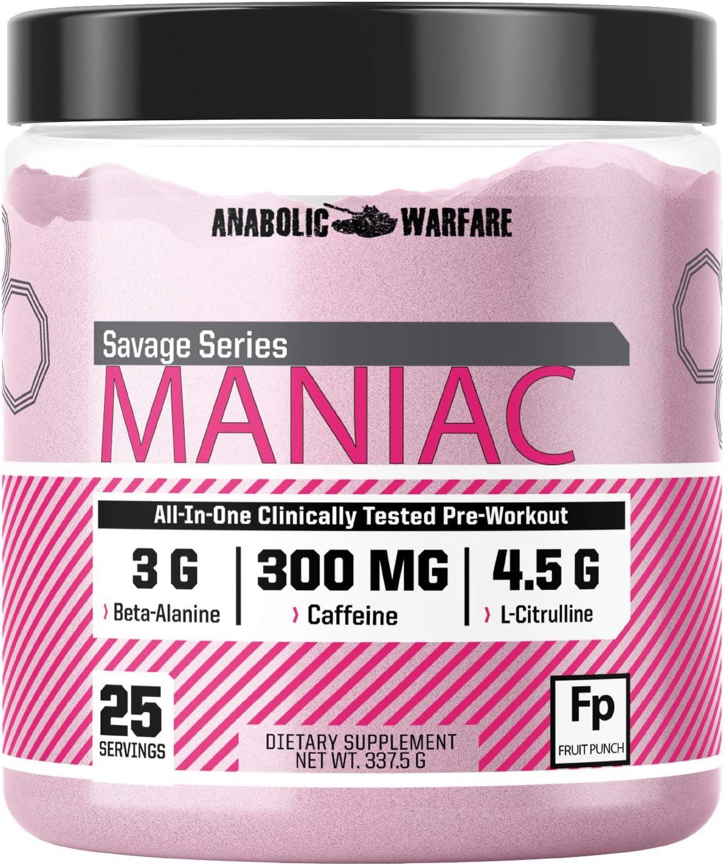 Maniac Pre Workout Powder by Anabolic t Max Excellent 47% OFF Warfare Preworkout Mix –