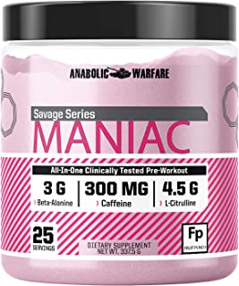 Maniac Pre Workout Powder by Anabolic Warfare – Preworkout Mix to Boost Focus & Energy with Caffeine, Beta Alanine, Lions Mane Mushroom, L Citrulline Powder and Creatine (Fruit Punch - 25 Servings