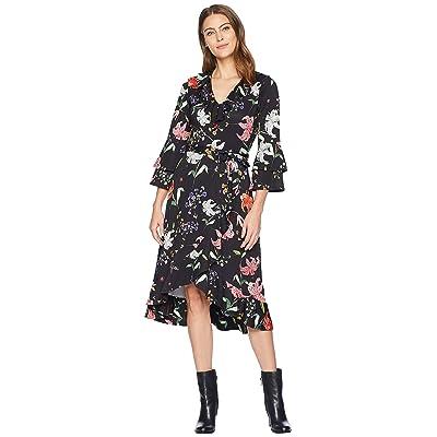 Hale Bob Floral Forever Matte Microfiber Jersey Valentina Dress (Black) Women