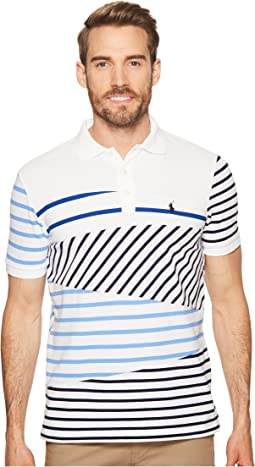 Mixed Striped Mesh Polo Knit