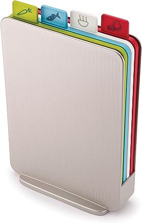 JOSEPH JOSEPH JJ60129 Index Chopping Board Chopping Board, Silver case with Multi-Coloured Boards