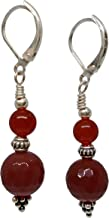 Ruby Mode Grape Pyramid Two Stone Long Earrings