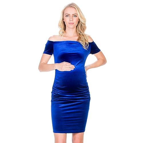 c2b6456b0eae1 My Bump Maternity Dress Velvet - Premium Soft Stretch Cold Shoulder Baby  Shower Photography Party Bodycon