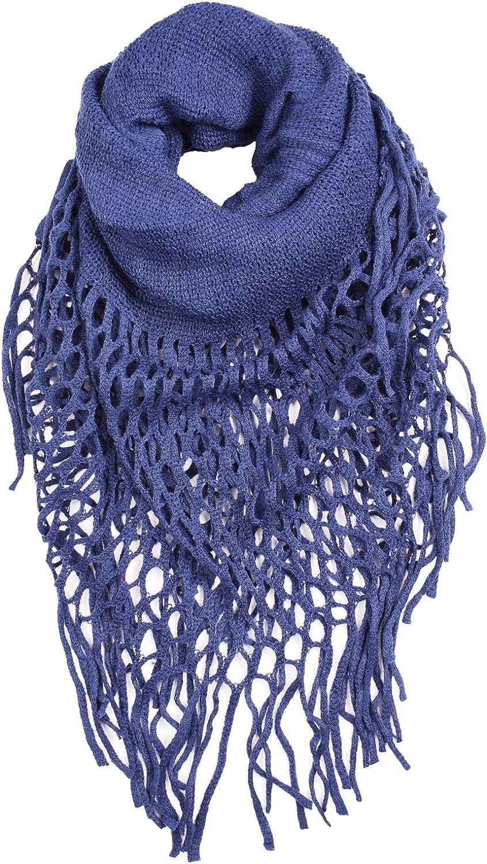 CEAJOO Women's Infinity Scarves Knit Winter Warm with Fringe Lightweight