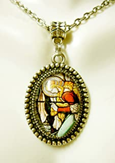 Saint Mary Magdalene at the cross stained glass window pendant and chain - AP05-337