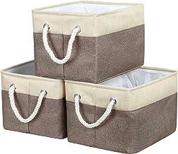 "HOKEMP Foldable Storage Bins - 15"" x 10.6"" x 10"" Fabric Storage Large Basket Set Collapsible Organizer Bin with Handles fo..."