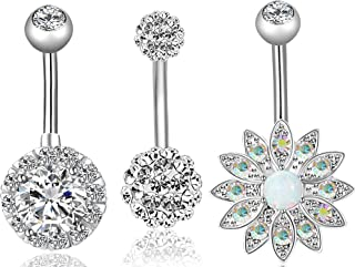 REVOLIA 2-3Pcs 14G Stainless Steel Belly Button Rings for Women CZ Flower Body Piercing Jewelry