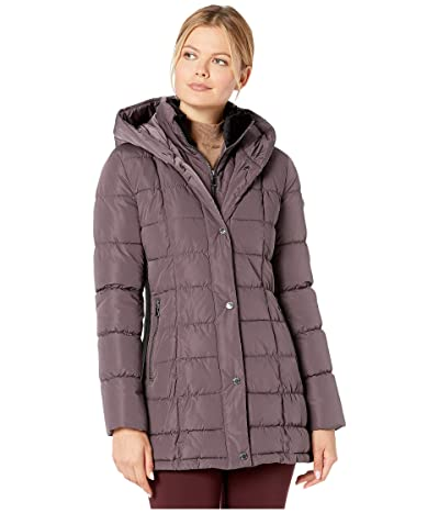 Calvin Klein Traditional Down with Bib Insert Knit Detail at Sleeve and Side Panels (Prune) Women