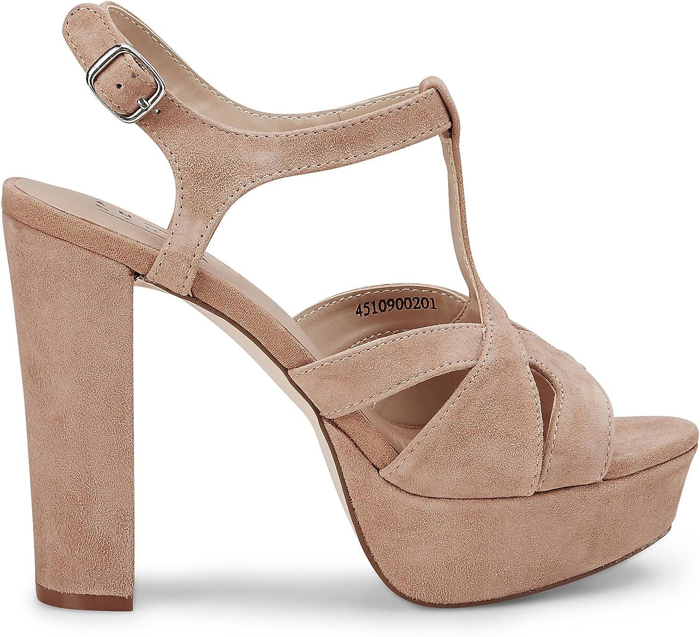 Another A Damen Damen Plateau Sandalette, Leder-Sandale in Beige mit mit Plateau-Absatz  Hol dir das neuste