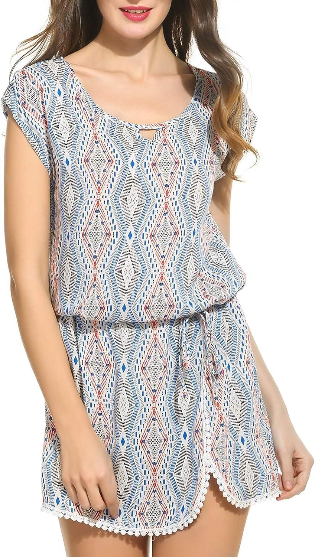 BEAUTYTALK Women's Bohemian Vintage Printed Ethnic Style Summer Mini Dress