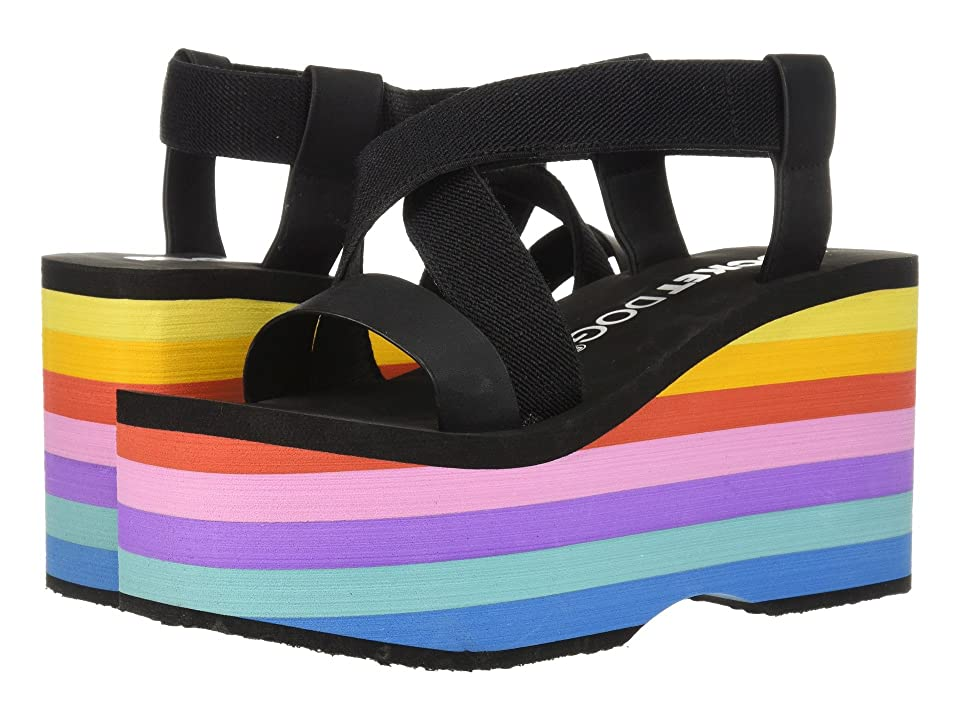 Rocket Dog Bayer Slingback Platform (Black Webbing/Smooth PU/Bubblegum Rainbow EVA) Women