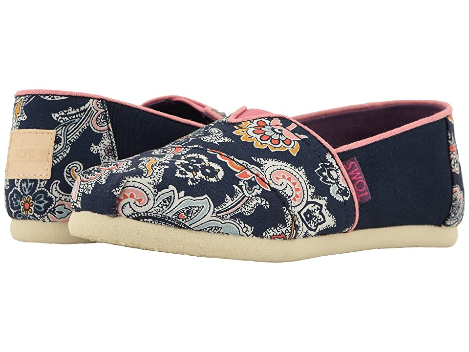 TOMS Kids Alpargata (Little Kid/Big Kid) (Navy Paisley Multi Liberty Louis Print) Girl