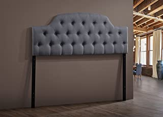 Baxton Studio Wholesale Interiors Morris Modern and Contemporary Fabric Upholstered Button-Tufted Scalloped Headboard, Full, Grey