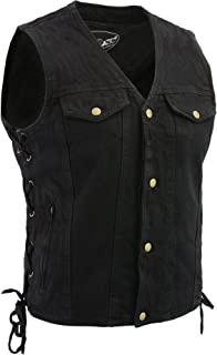 M Boss Motorcycle Apparel BOS13005 Mens Black Side Lace Denim Vest with Denim Style Chest Pockets - 4X-Large