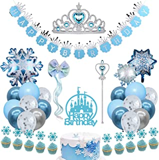 Frozen Birthday Party Supplies Snowflake Party Decorations Happy Birthday Banner Crown Wand Snowflake Hair Clip Foil Ballo...
