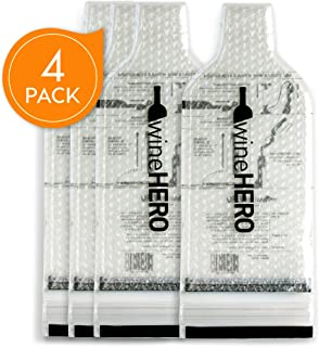 WineHero - 4 Pack Reusable Leak Proof Bottle Protector Bag for Travel Pack in Airplane Checked Baggage, Luggage, or Suitcase - Good for Cruise Travel - Wine Travel Accessory