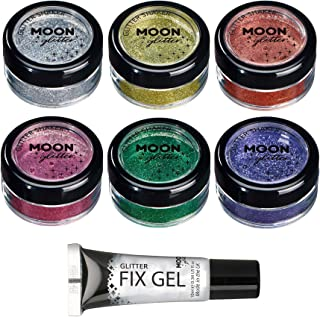 Fine Glitter Shakers by Moon Glitter – 100% Cosmetic Glitter for Face, Body, Nails, Hair and Lips - 0.17oz - Set of 6 colours