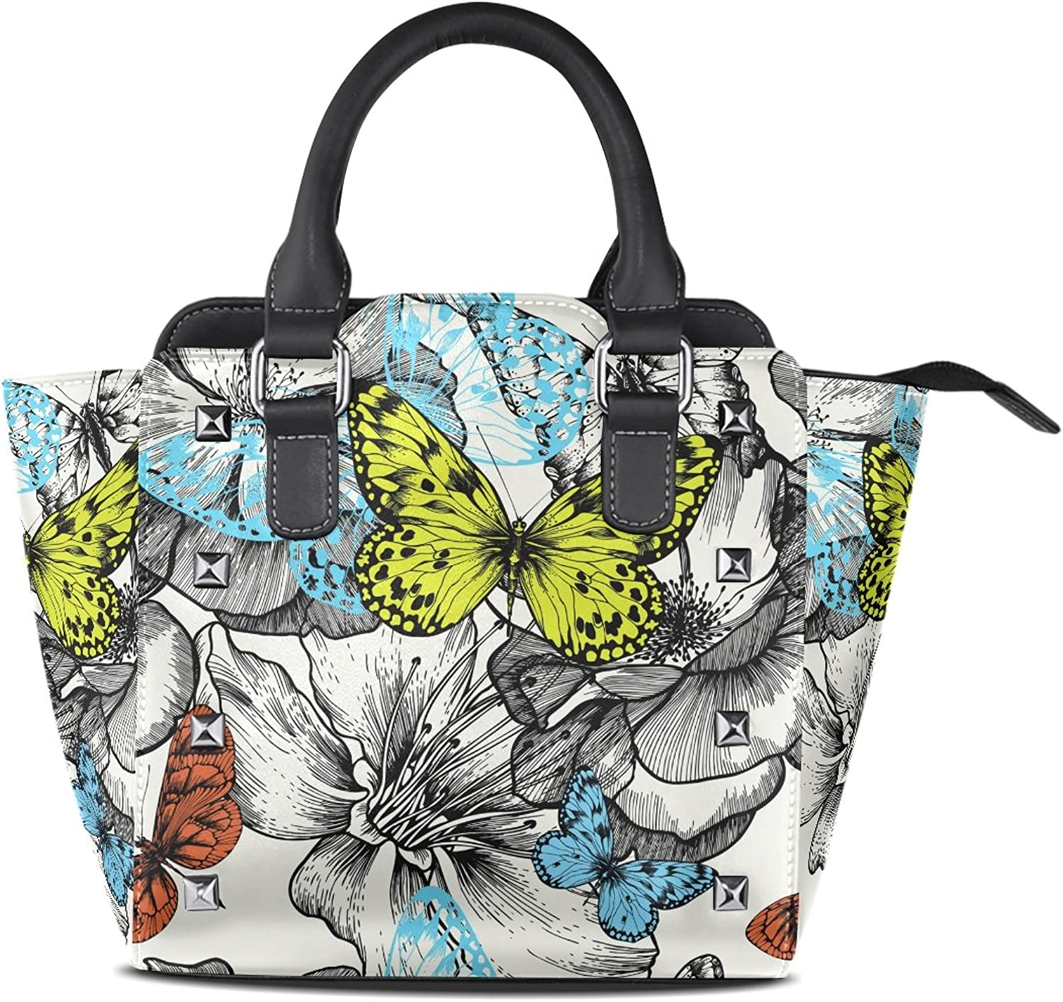 Sunlome Retro pinks Butterfly Print Women's Leather Tote Shoulder Bags Handbags