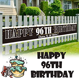 LINGPAR 9.8 x 1.6 ft Large Sign Happy 96th Birthday Banner - Cheers to 96 Years Old Decor