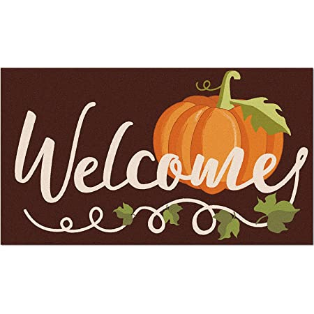 Fall Pumpkin Welcome Doormat Autumn Indoor Outdoor Entrance Home Front Porch Rugs Thanksgiving Housewarming Greetings Gift Decoration Supplies 17 x 30 Inches