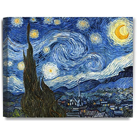 Amazon Com Wieco Art Starry Night Canvas Print Of Van Gogh Oil Paintings Reproduction Modern Canvas Print Artwork Abstract Landscape Pictures Printed On Canvas Wall Art For Home Office Decorations Posters Prints