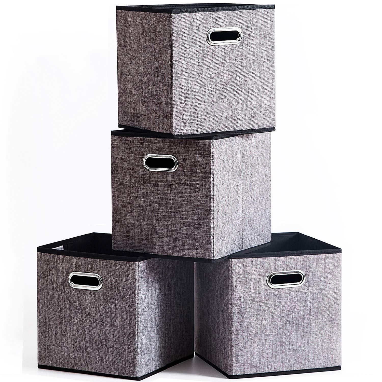 折り畳み収納フレーム整理箱[4つ入り]グレー、綿麻の収納バスケット、100%無臭、金属取っ手