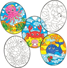 Baker Ross Underwater Sealife Color-in Window Decorations (Pack of 12) Suncatcher Stained Glass Effect for Children to Make and Display