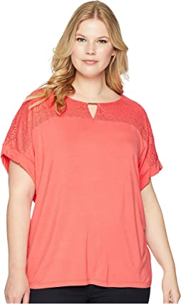 Calvin Klein Plus Plus Size Short Sleeve Top w/ Lace Yoke & Hardware