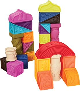 B.Toys 比乐 罗马城堡软浮雕积木 无毒可啃咬 牙胶 感官训练 早教玩具 数?#20013;?#29366;?#29616;? 婴幼儿童益智玩具 礼物 6个月+ BX1003NTZ