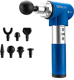 Sonic LX Professional Percussion Massage Gun - Powerful Deep Tissue Muscle Massager for Athlete Recovery and Chiropractic Therapy - Super Quiet, 9 Speeds + 7 Attachments for Limitless Usage