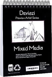Deviazi Mixed Media Sketchbook 100-Sheets Acrylic Art Pad, Sketch Book, Watercolor | Drawing Pad, Acid-Free Paper for Drawing Paper, Painting, Sketching | Spiral Bound Sketchbook | Coloring Book