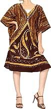 LA LEELA Women's Midi Kaftan Night Dress Loungewear Beach Cover Ups Hand Batik
