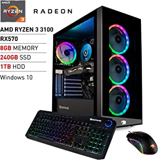 iBUYPOWER Pro Gaming PC Computer Desktop Element MR9700v2 (AMD Ryzen 3 3100 3.6GHz, AMD Radeon RX 570 4GB, 8GB DDR4 RAM, 240GB SSD, 1TB HDD, WiFi Ready, Windows 10 Home)
