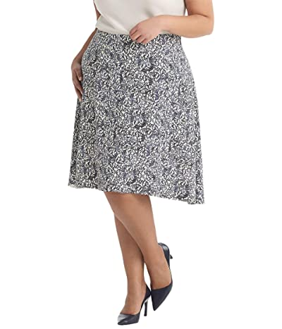 M.M.LaFleur Plus Size Hopson Skirt Ivy Print (Galaxy Blue) Women