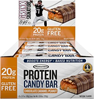 MuscleTech Gronk Signature Whey Protein Bar, 20g Protein, Nutrition for Sustained Energy, Naturally Flavored, Gluten Free, Chocolate Caramel Peanut, 12 Bars (12 x 60g)