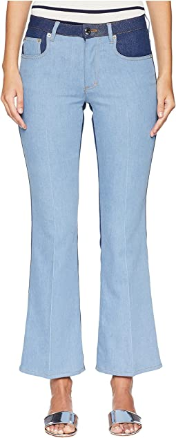 Bicolor Stretch Flare Denim